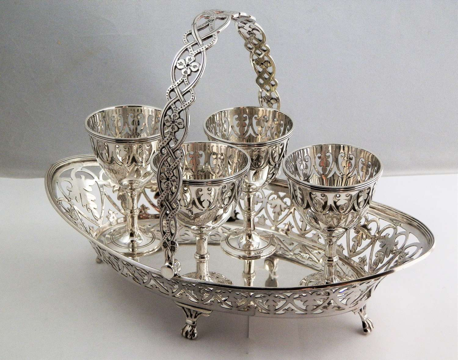 Victorian silver egg cruet set, London 1898