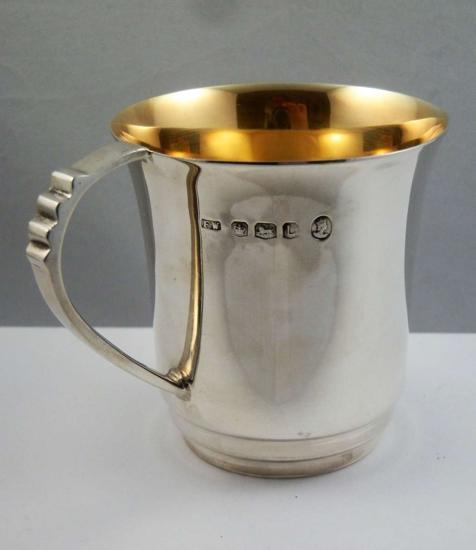 Elizabeth II art deco silver christening cup, Sheffield 1953