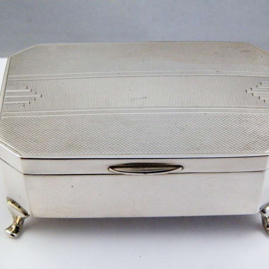 Silver art deco Jewellery box, Sheffield 1936