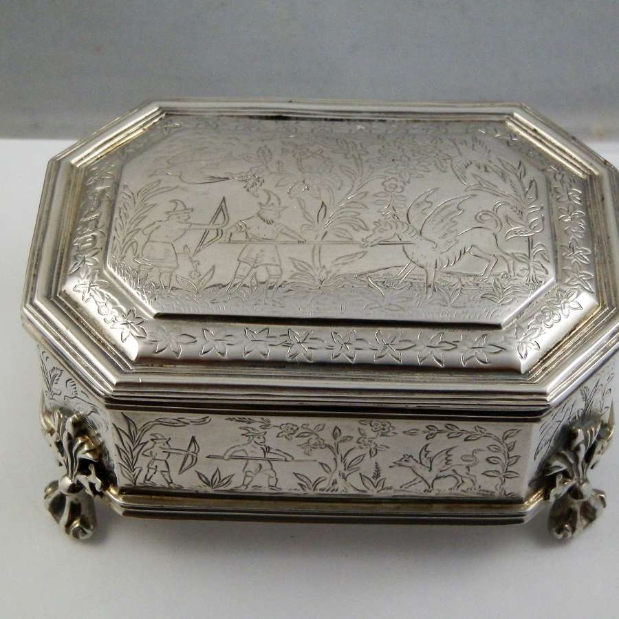 Edwardian silver jewellery box, London 1911