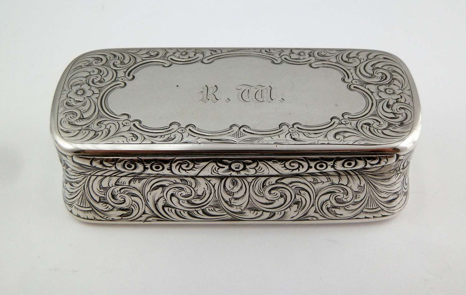 Victorian silver table snuff box, Birmingham 1863