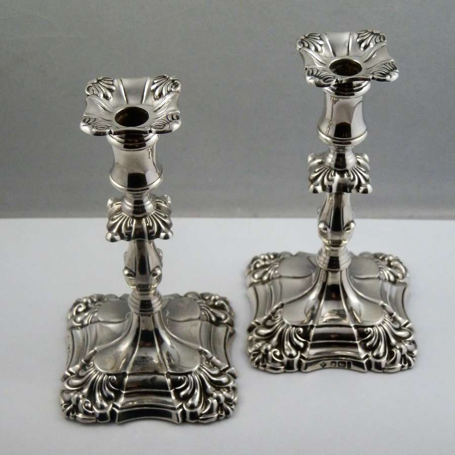 Victorian pair of miniature silver candlesticks, Sheffield 1894