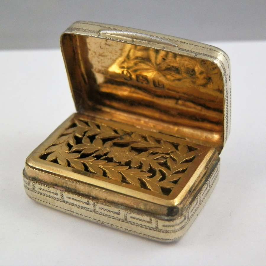 George III silver gilt vinaigrette, London 1806