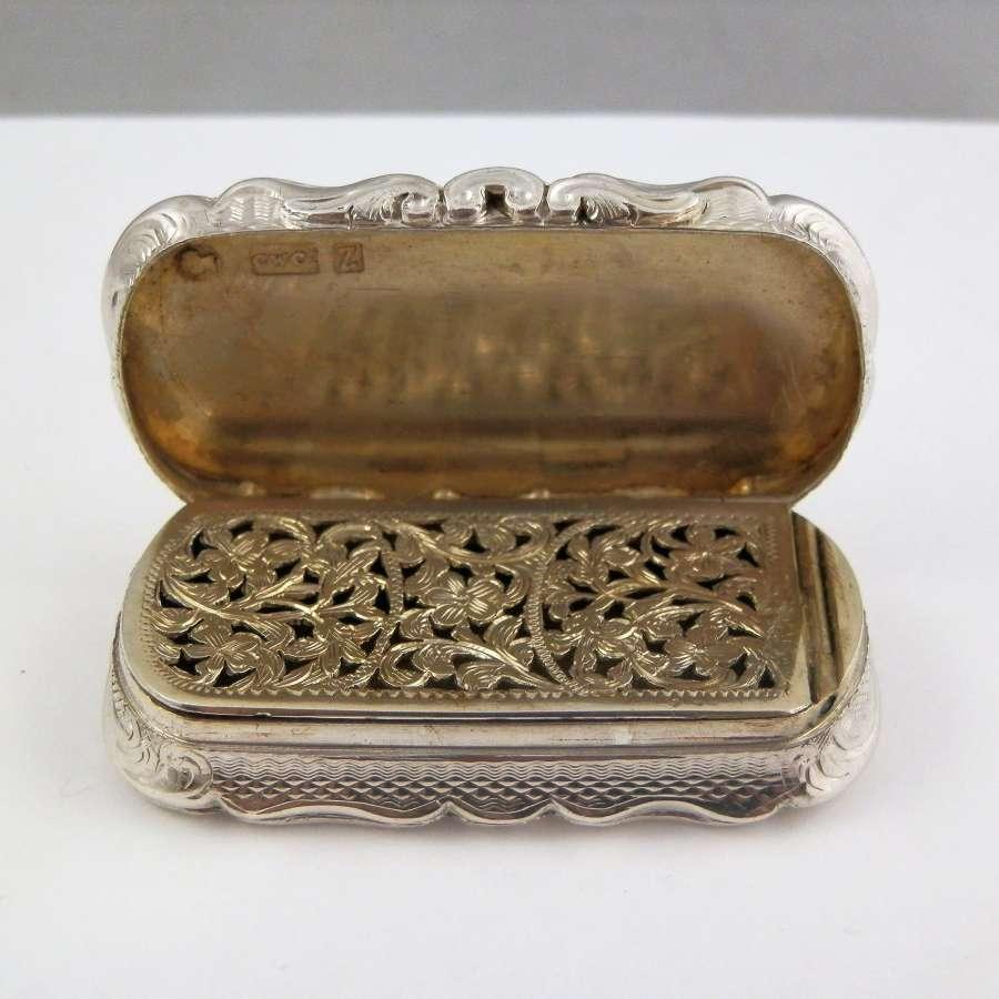 Victorian large silver vinaigrette, Birmingham 1848