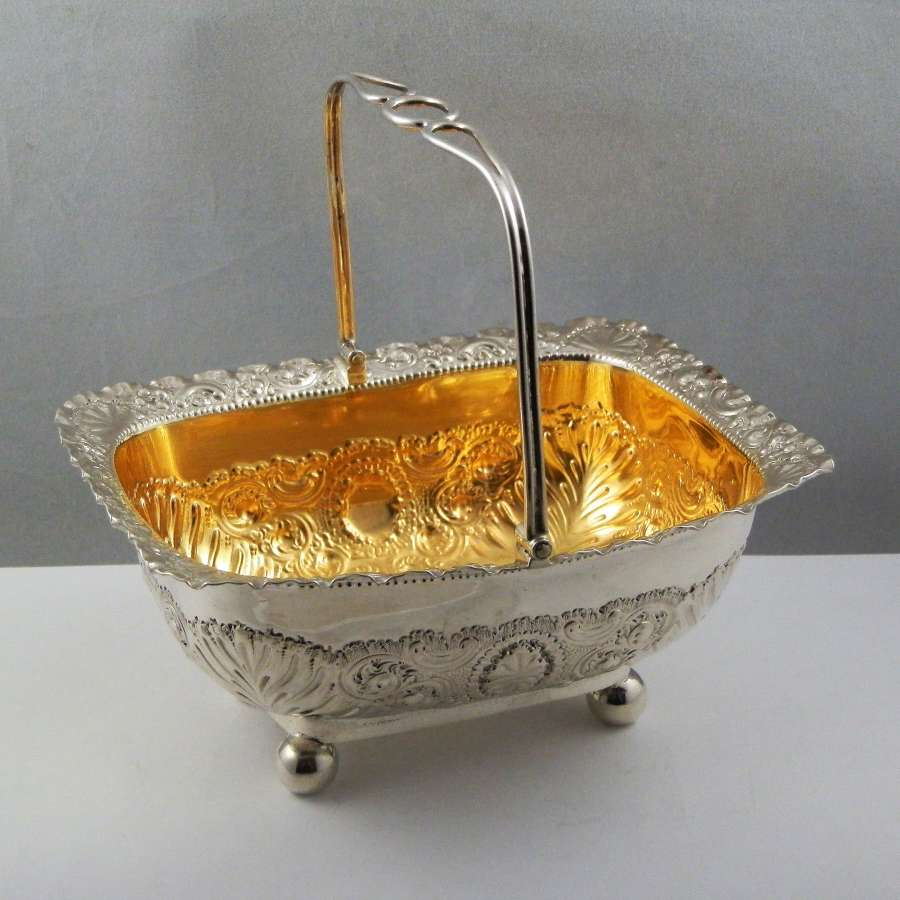 Victorian silver bon bon basket, London 1897