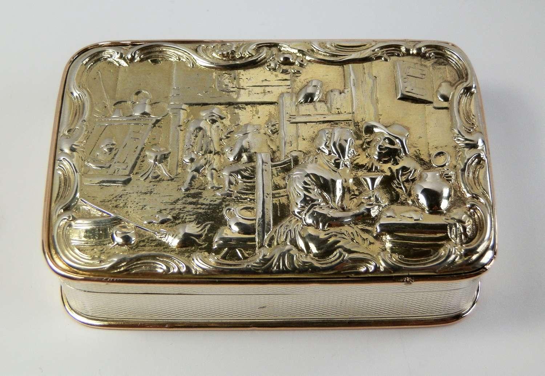 George III silver gilt tavern scene snuff box, London 1814
