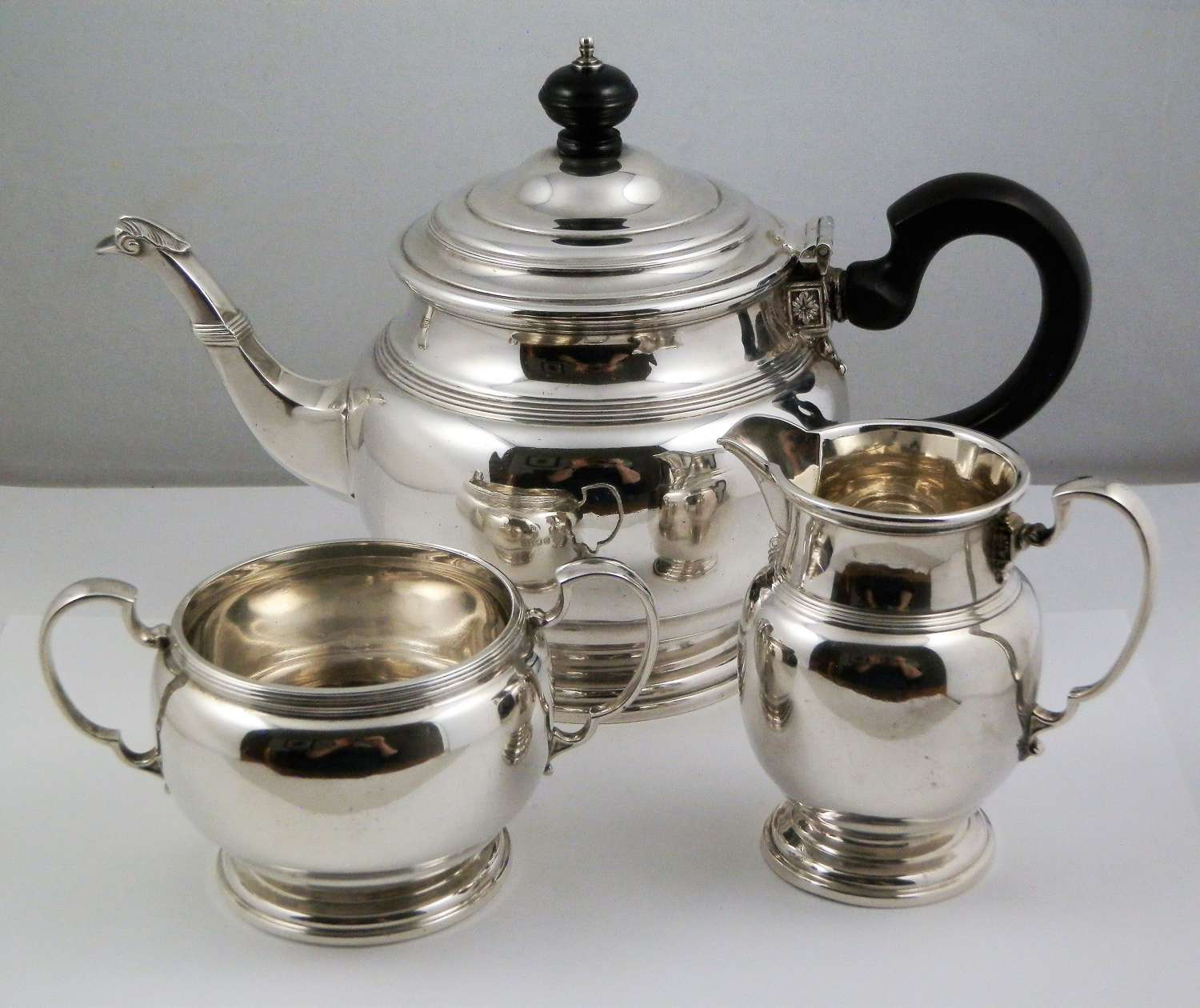 Silver three piece tea set, Mappin & Webb 1926