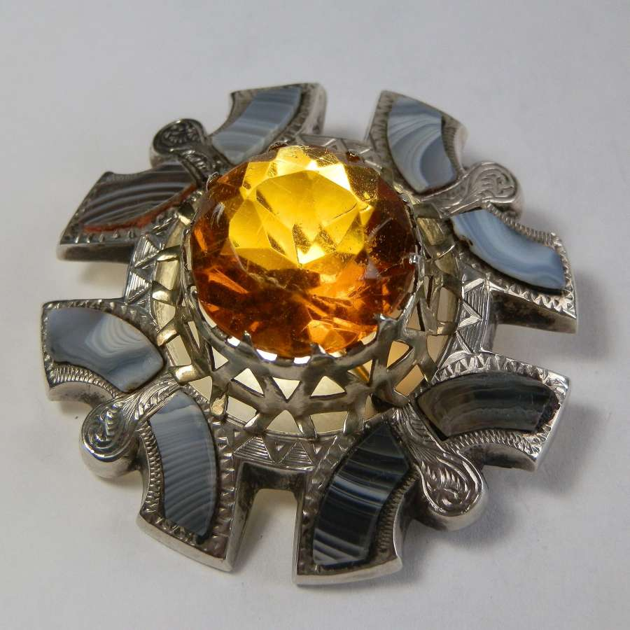 Scottish Victorian Montrose agate, citrine brooch.