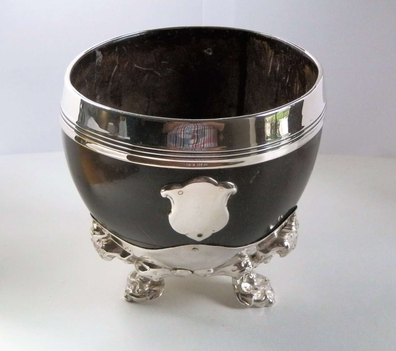 Victorian silver coconut cup, Sheffield 1852