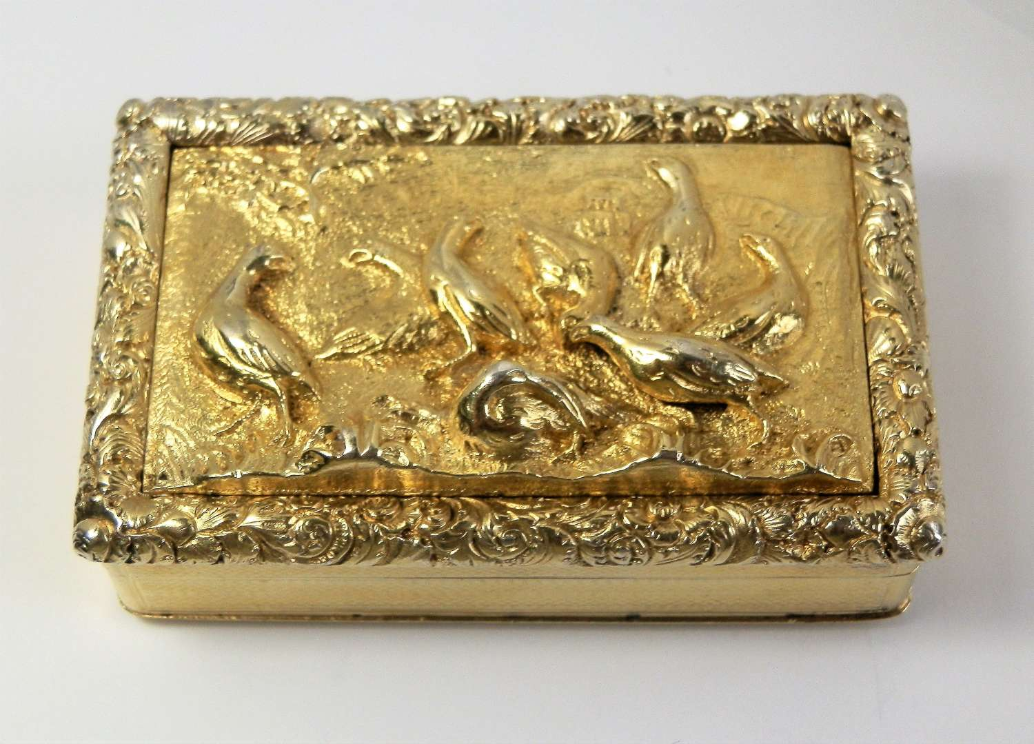 George IV silver gilt partridges snuff box, Birmingham 1829
