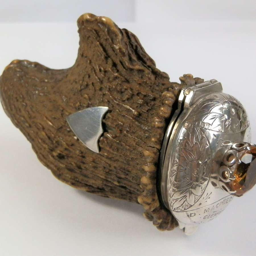 Victorian Scottish silver and deer antler snuff mull.    c 1874