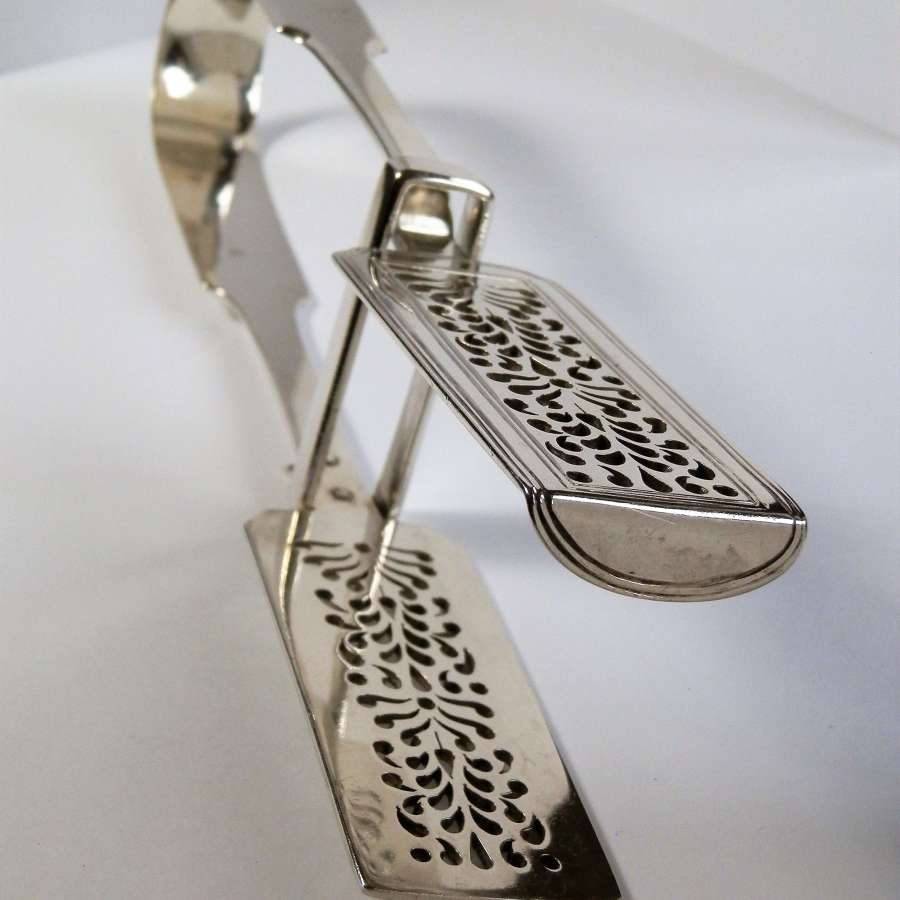 Early Victorian silver asparagus tongs. London 1838