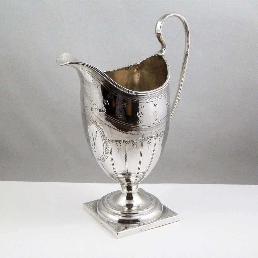 George III silver helmet style cream jug, London 1795.