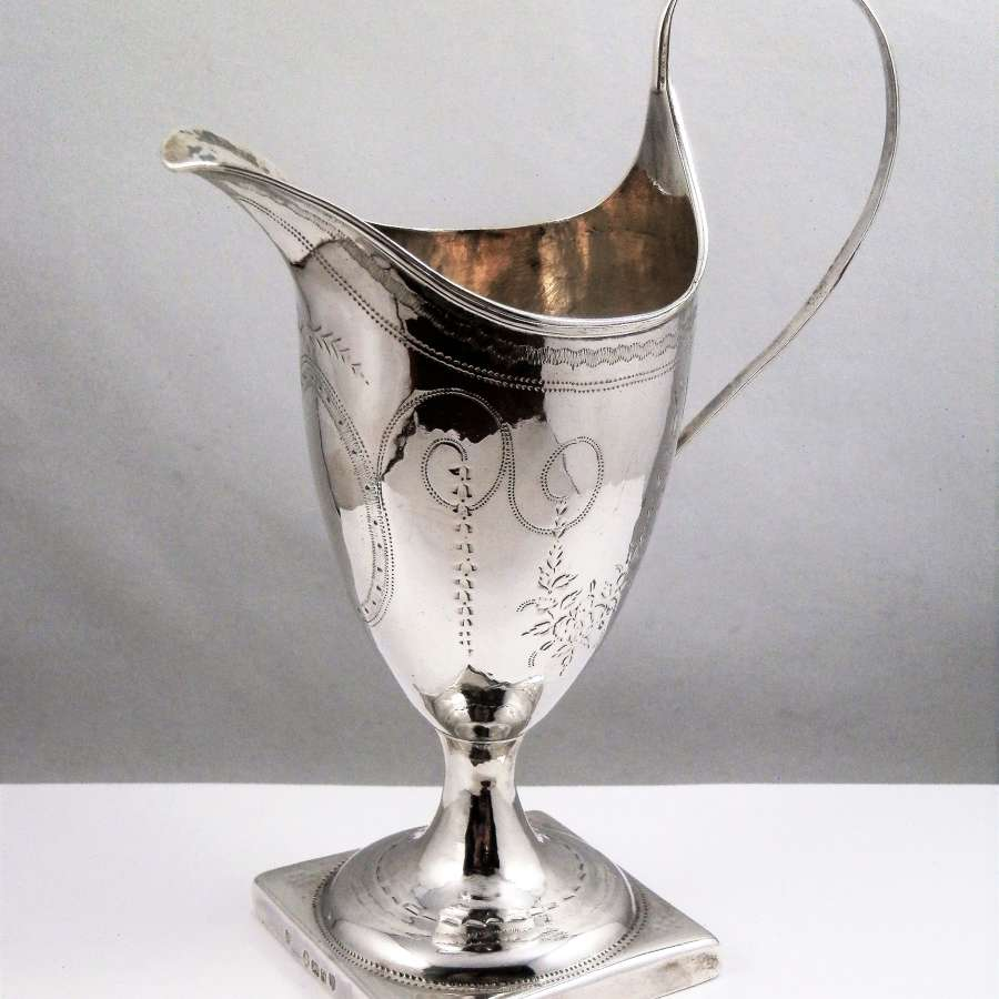 George III silver helmet style cream jug, London 1791