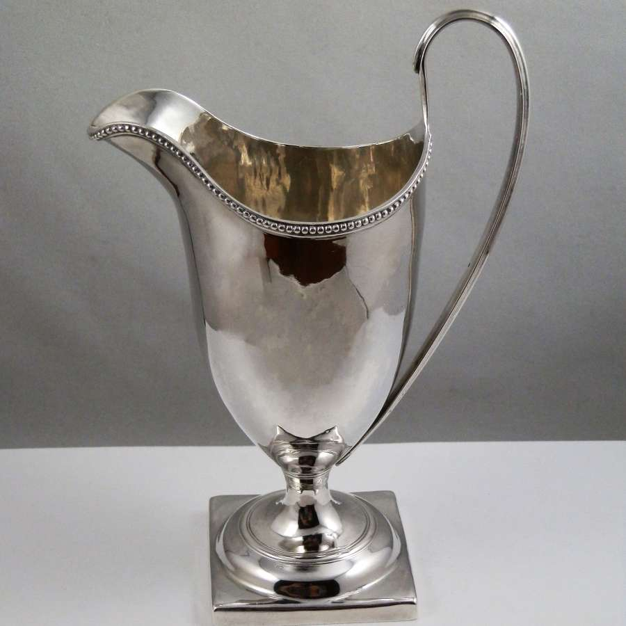 George III silver helmet style cream jug, London 1788