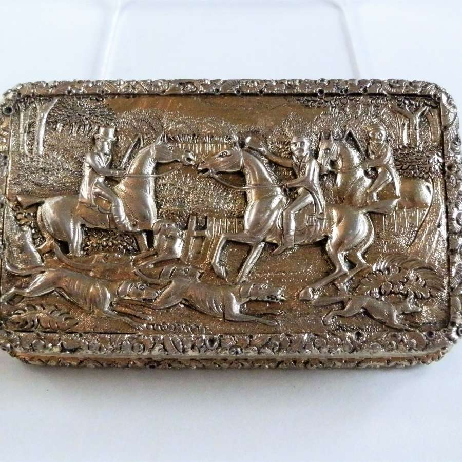 Georgian silver gilt hunting snuff box, Birmingham 1829
