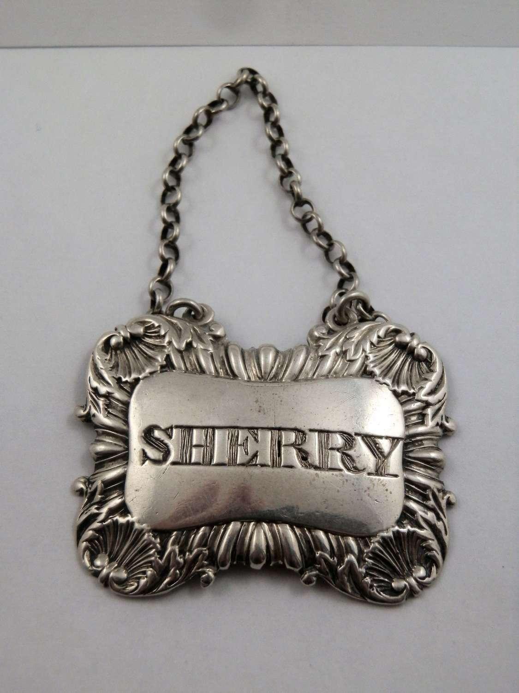 George III Scottish silver Sherry label, Edinburgh c.1819