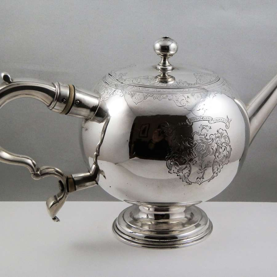 George II Scottish silver bullet tea pot, Edinburgh 1736
