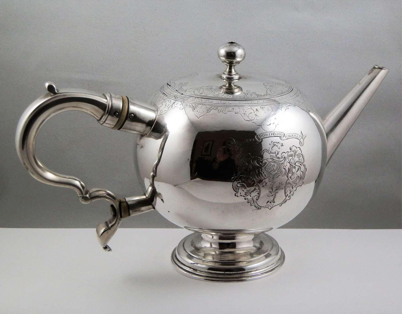 George II Scottish silver bullet tea pot, Edinburgh 1736