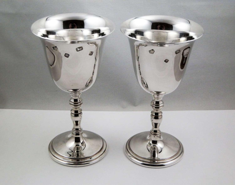 Pair of Elizabeth II silver wine goblets, 1975