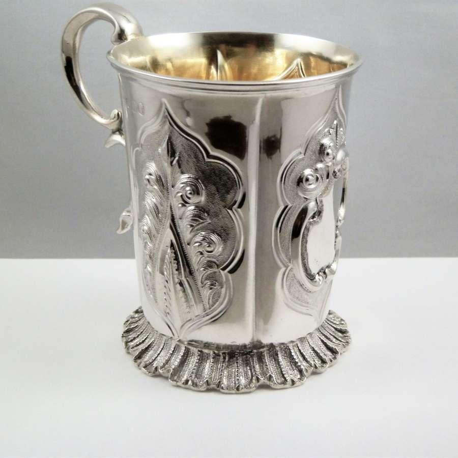 Early Victorian silver christening mug, 1847