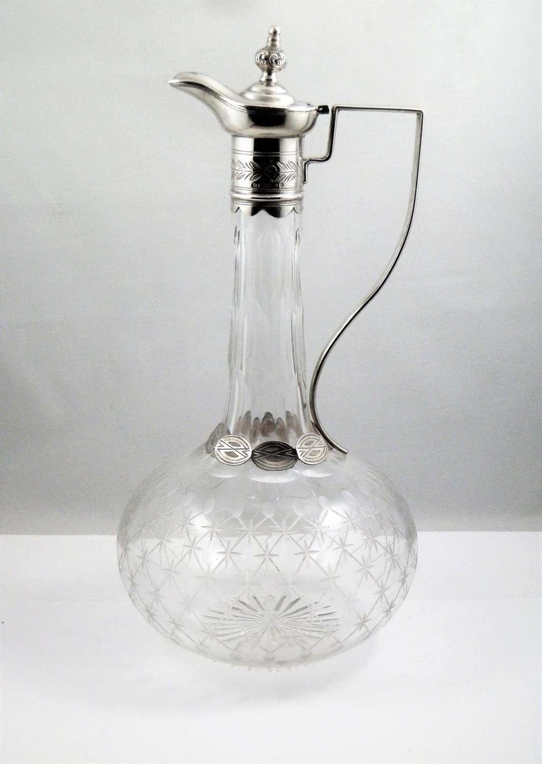 Victorian silver and cut glass decanter, 1885