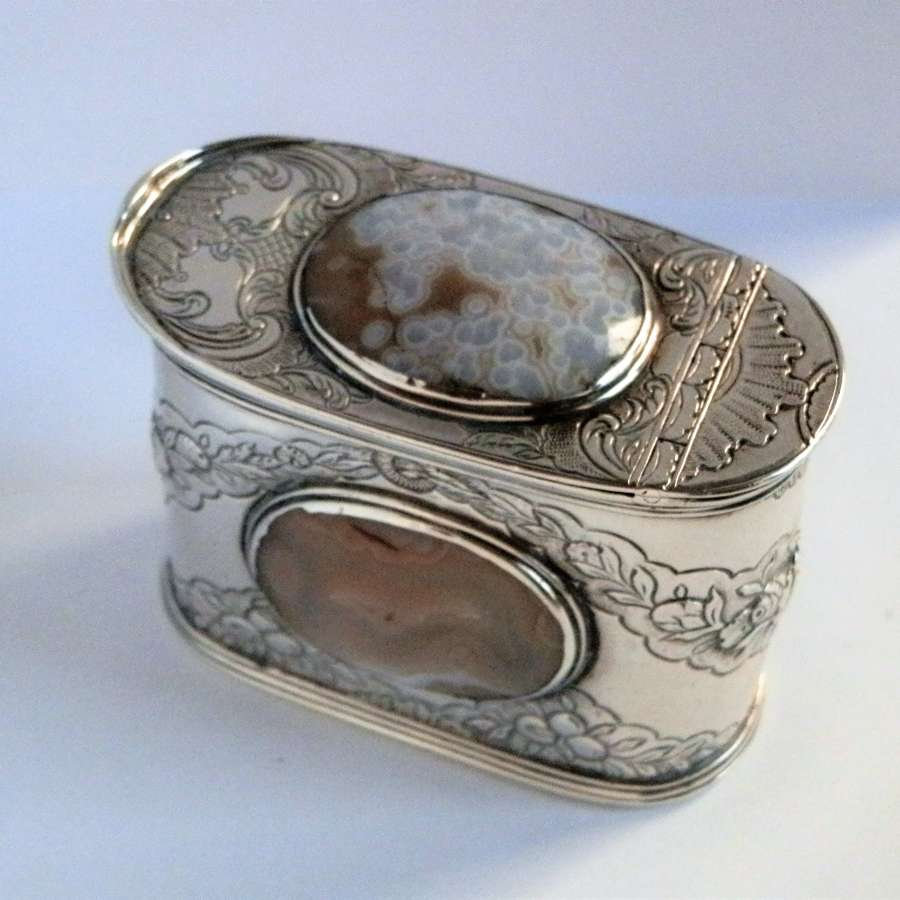 Scottish silver and agate snuff box c.1750
