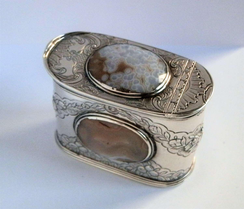 Scottish silver and agate snuff box c.1750