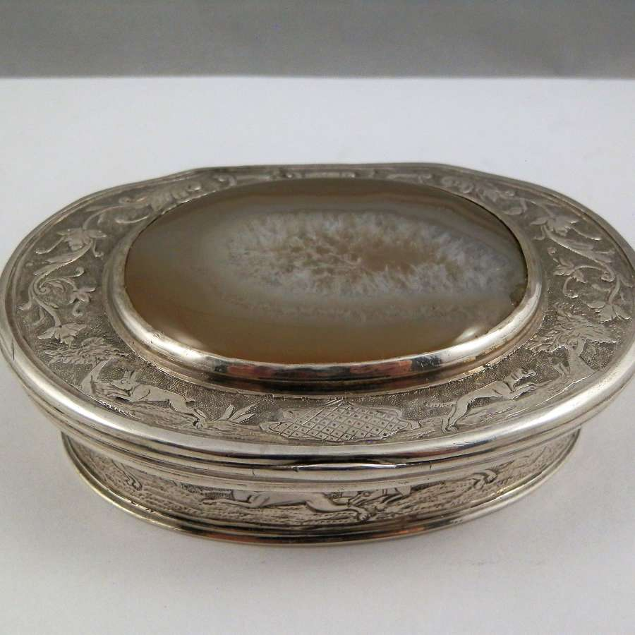 Scottish silver and agate snuff box c. 1750