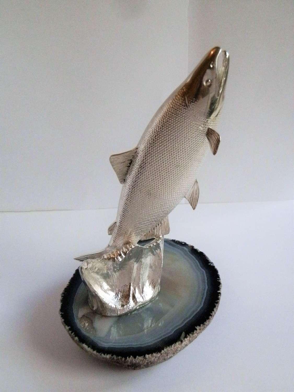 Silver Atlantic Salmon statue, Edinburgh 2018