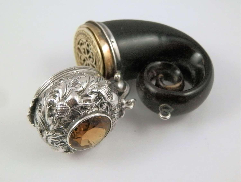 Victorian silver horn vinaigrette, Edinburgh c.1875