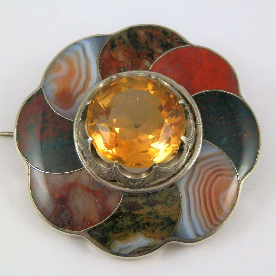 Scottish silver, citrine and agate brooch, c.1880