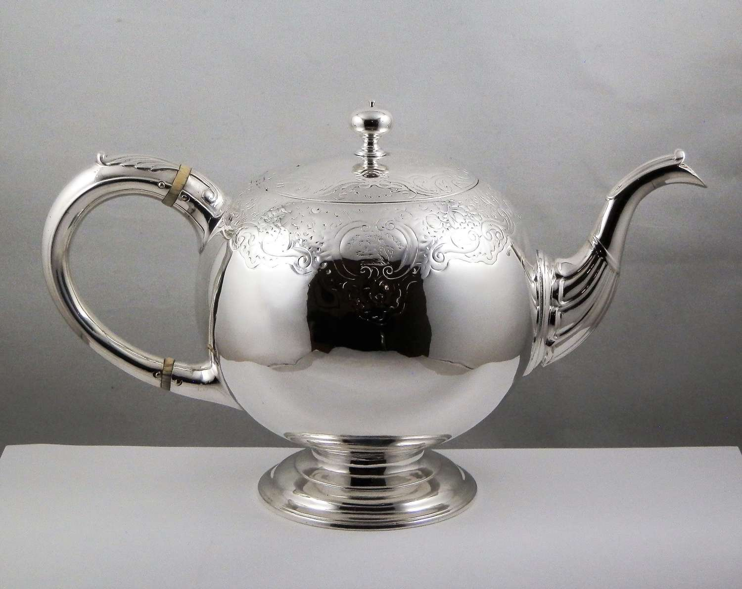 George II Scottish silver bullet teapot, James Ker 1746