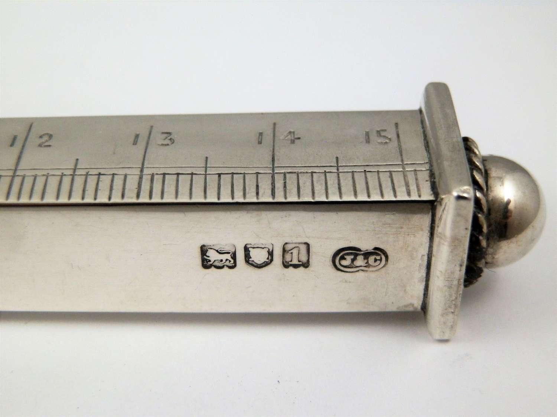 Edwardian silver 6 inch desk ruler, London 1906