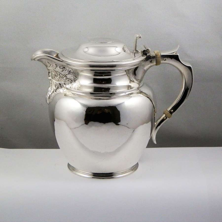 Edwardian Scottish silver hot water jug, Glasgow 1908
