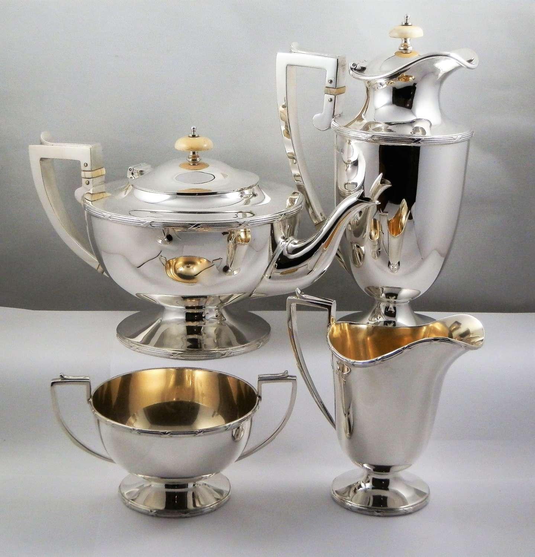 Silver Art Deco 4 piece tea set, Sheffield 1924