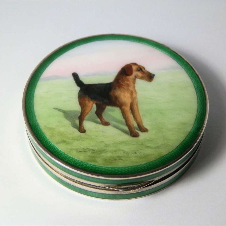 Enamelled silver box, Terrier Dog lid 1927
