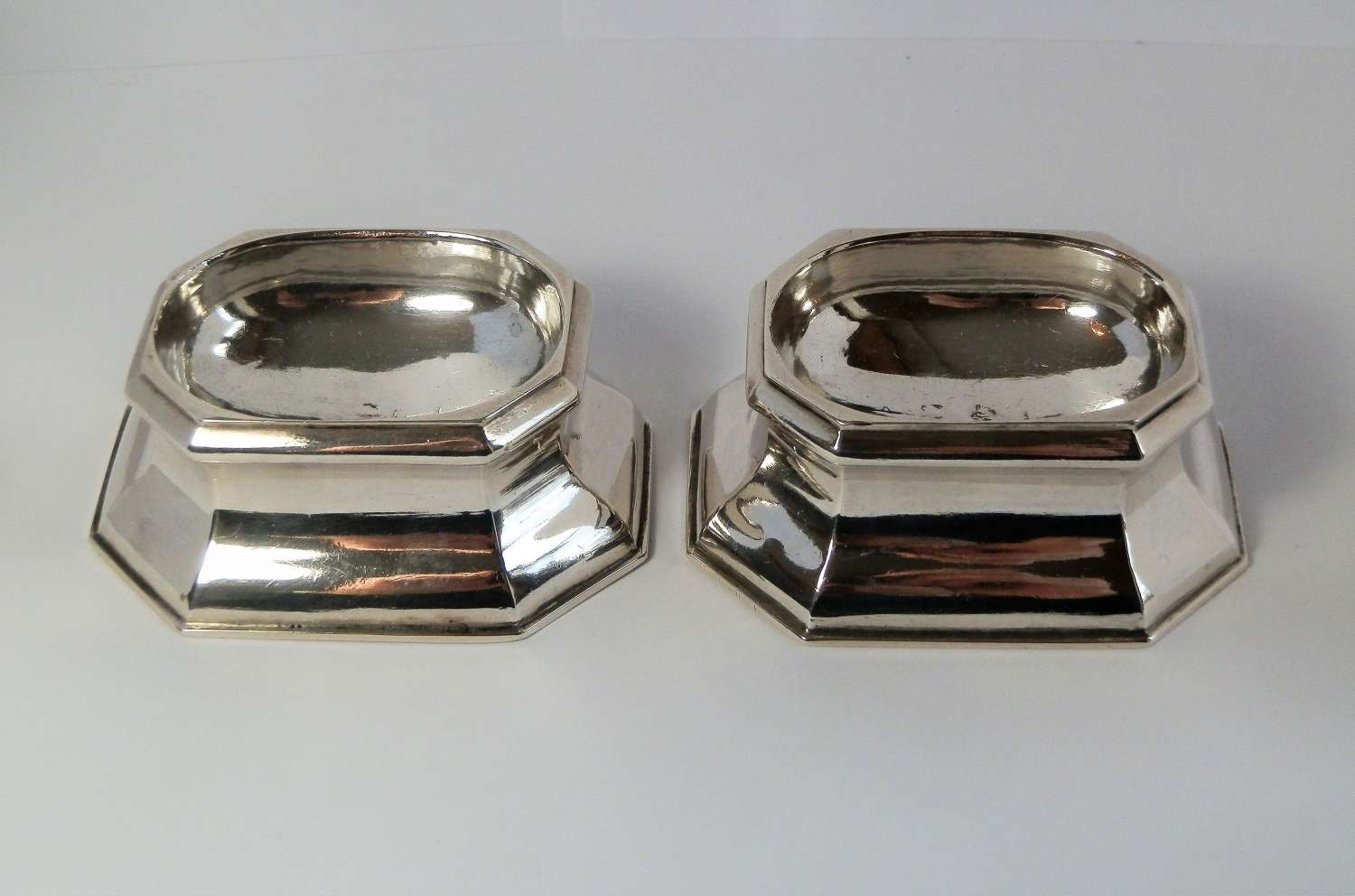 George II pair of silver trencher salts, John Stone 1736