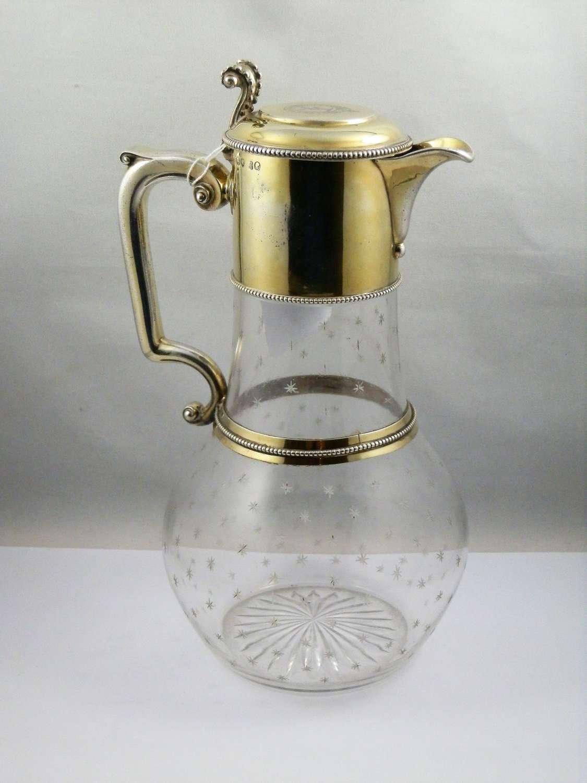 Victorian silver gilt claret jug, John Figg London 1875