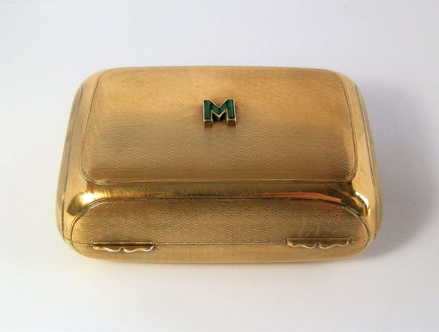 Edwardian emerald set silver gilt soap box, London 1910