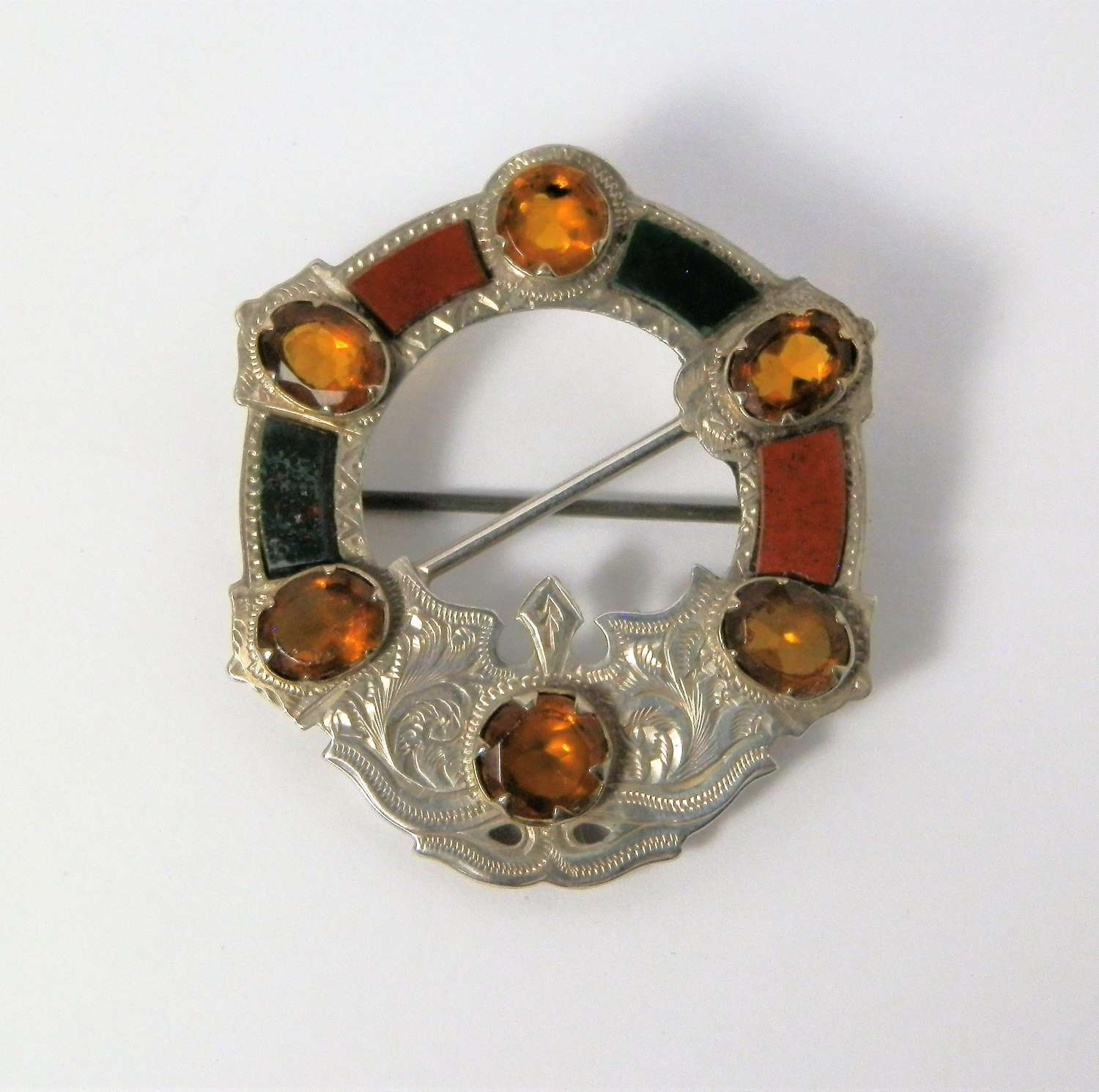 Victorian Scottish silver, agate and citrine brooch, 1874