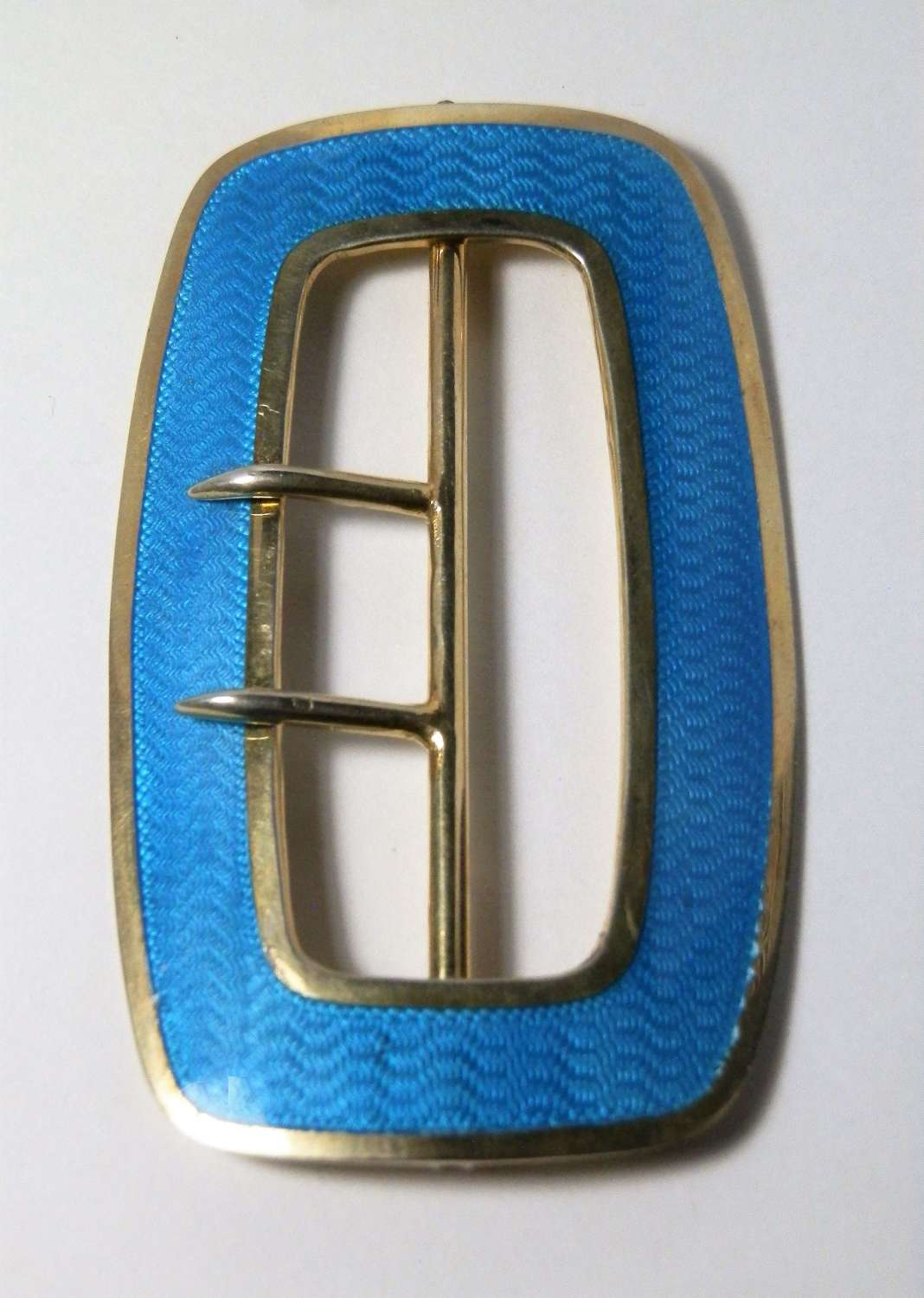 Edwardian silver gilt and enamel buckle, Birmingham 1909