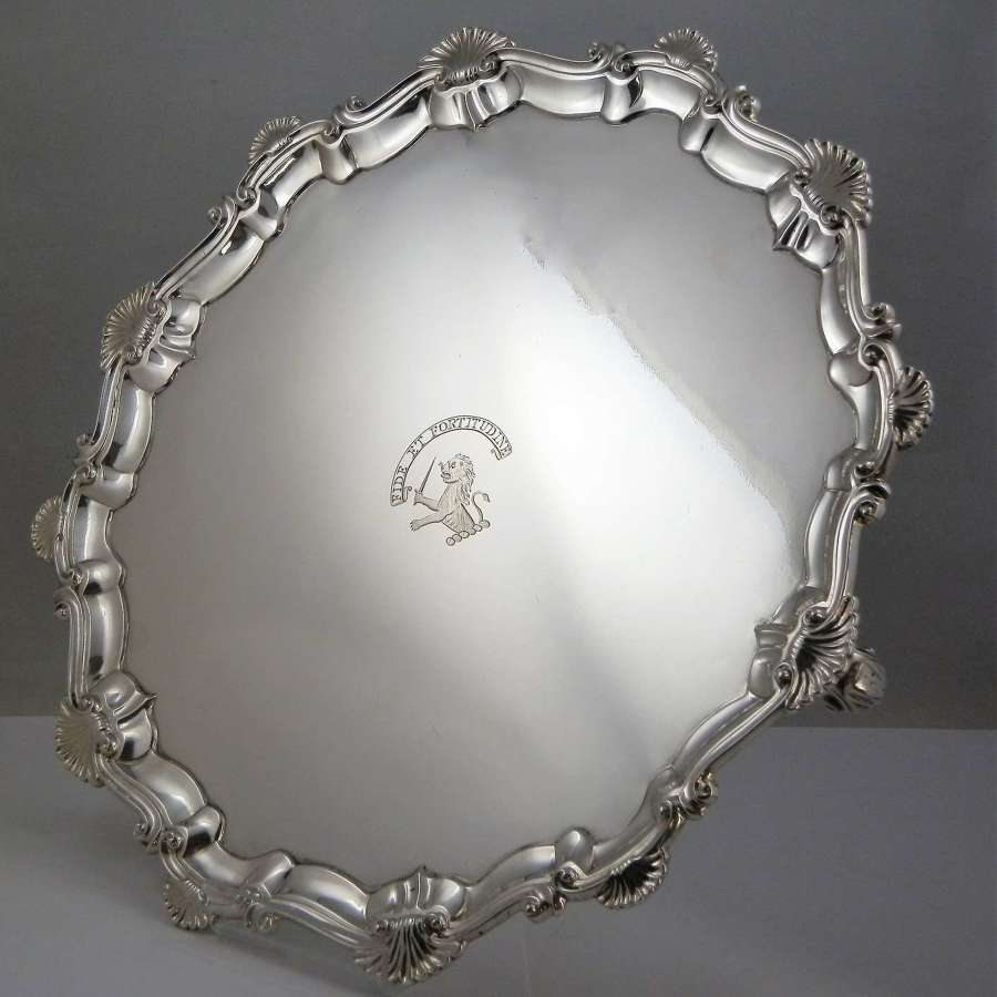 George III silver salver by Elizabeth Cooke, London 1765