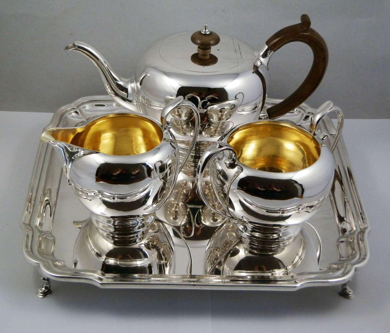 A George V silver tea set and tray, London 1919