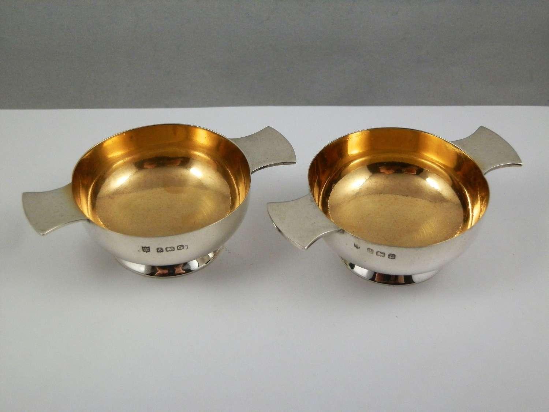 George V pair of miniature silver quaichs, Birmingham 1926