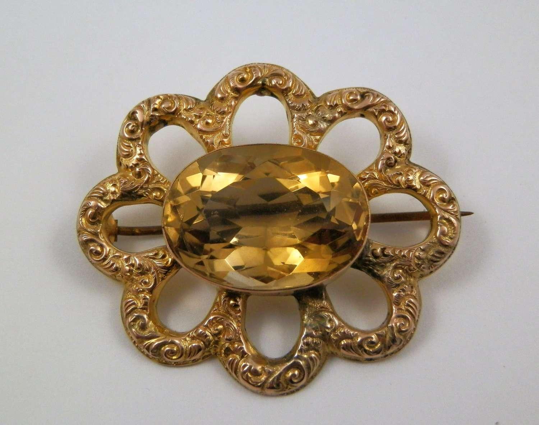 Edwardian 9ct gold and citrine brooch, Glasgow c.1908