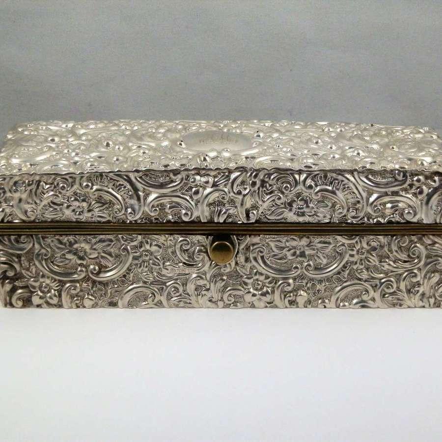 Edwardian silver jewellery box, Birmingham 1902