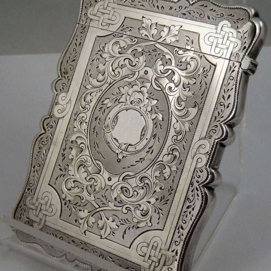 Victorian silver engraved card case, Birmingham 1865