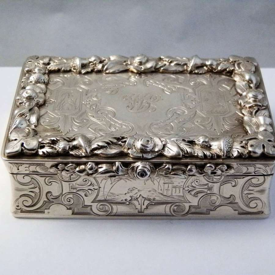 Victorian gothic style silver table snuff box, London 1845