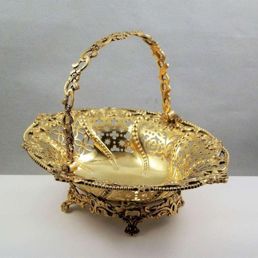 George III silver gilt basket, Edward Aldridge, London 1764